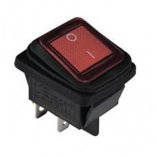 KCD2-201WN G/B 220V Переключатель 1 клав. влагозащищенный красный с подсветкой