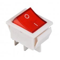 KCD2-201N R/W 220V Переключатель 1 клав. красный с подсветкой