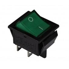 KCD2-201N G/B 220V Переключатель 1 клав. зеленый с подсветкой