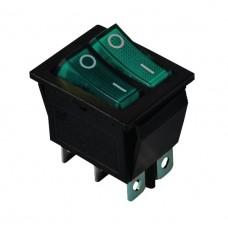 KCD2-2101N G+G/B 220V Переключатель 2 клав. зеленый + зеленый с подсветкой
