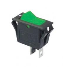 KCD3-2-101V G/B Переключатель 1 клав. зеленый с подсветкой