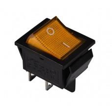 KCD2-201N Y/B 220V Переключатель 1 клав. желтый с подсветкой