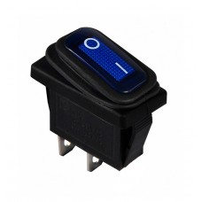 KCD3-101WN BL/B 220V Переключатель 1 клав. влагозащищенный синий с подсветкой