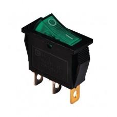 KCD3-101N G/B 220V Переключатель 1 клав. зеленый с подсветкой