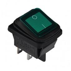 KCD2-201WN G/B 220V Переключатель 1 клав. влагозащищенный зеленый с подсветкой