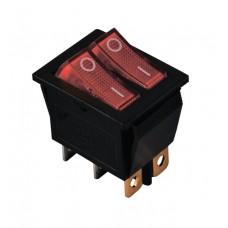 KCD2-2101N R+R/B 220V Переключатель 2 клав. красный с подсветкой