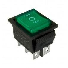 KCD2-203N G/B 220V Переключатель 1 клав. перекидной зеленый с подсветкой