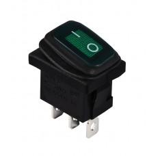 KCD1-2-101WN G/B  220V  Переключатель 1 клав. (зеленый) влагозащищенный с подсветкой