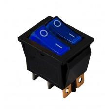 KCD2-2101N BL+BL/B 220V Переключатель 2 клав. синий + синий с подсветкой