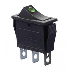 KCD3-101EN G/B 220V Переключатель 1 клав. зеленый с подсветкой