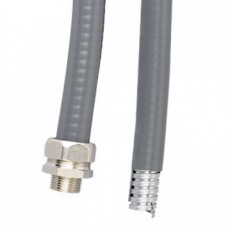 Металлорукав DN 15мм в гладкой EVA изоляции, Dвн 15,5 мм, Dнар 21,0, IP66, 50 м, цвет серый, 607E016, ДКС