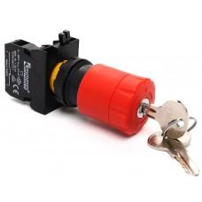 Аварийная кнопка «грибок» EMAS CP200EA30 с ключом D=30мм c фиксацией и возврат поворотом (1НЗ)