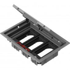 Напольный розеточный лючок 276х199 на 6 модулей 45х45 Altira, серый пластик