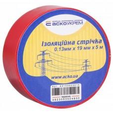 Изолирующая лента 0,13мм*19мм/5м, Красная, Аско [a0150020052]