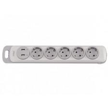 Колодка Luxel Nota 5 розетки  с заземлением и выключателем +2 USB (4371)