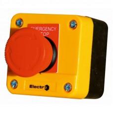Пост аварийный ElectrO 10A 230/400B IP44 1красный грибок, корпус - желтый N0+NC (PK722RY44A)